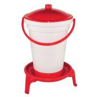 TOPTRADE napáječka plastová, kbelíková, na podstavci, s plovákem, pro drůbež, 24l