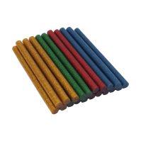 TOPTRADE lepidlo tavné, 4 barvy se třpytkou - červená, žlutá, modrá, zelená 7,5 x 100mm, 20 ks