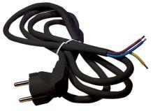 šňůra flexo, PVC, černá, vidlice úhlová, neoddělitelná, 5 m,  vodič 3 x 1,5 mm