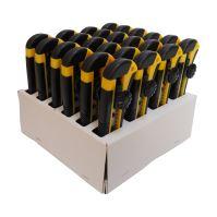 TOPTRADE nůž odlamovací, plastový, v prodejním kartonu, sada 24 ks, 18 mm