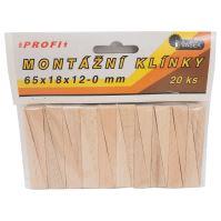 klínky dřevěné, montážní, balení 20 ks, 65 x 18 x 12 – 0 mm