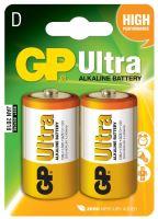 baterie GP Ultra Alkaline, LR20, velké mono D, blistr 2 ks, 1,5 V