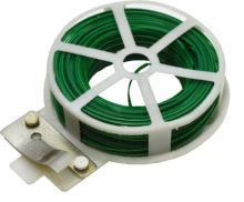TOPTRADE drát ocelový, poplastovaný, zelený, planžetové nůžky v plastovém pouzdře,  0,4 mm x 50 m