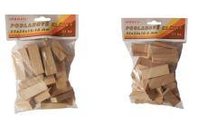 klínky dřevěné, podlahové, balení 51 ks, 55 x 20 x 10 – 5 mm
