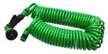 TOPTRADE hadice zahradní,spirálová,pistole plastová–rozstřikovač,7 funkcí,na rychlospojky,sada,15m