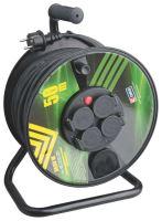 kabel prodlužovací, černý, guma, na odvíjecím bubnu, 4 zásuvky, tepelná pojistka, 50 m,~230V/16A