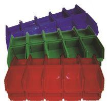 ekobox červený, štosovací, na spojovací materiál, 20 ks, 150 x 100 mm