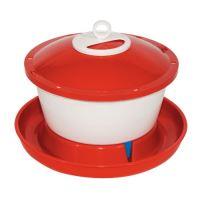 TOPTRADE napáječka plastová, kbelíková, s plovákem, pro slepice, 6 l