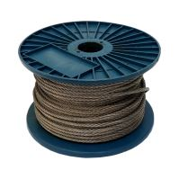 TOPTRADE lano ocelové, pozinkované, na cívce, 7 x 7 drátů, O 5 mm x 75 m
