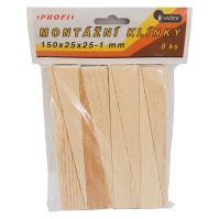 klínky dřevěné, montážní, balení 8 ks, 150 x 25 x 25 – 1 mm