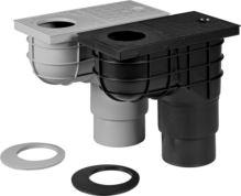 vpusť kanalizační, plastová, průtok 390l / 530l / min., se spodním vývodem O 110 / 125 mm