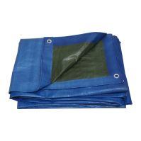 TOPTRADE plachta krycí, modro-zelená, s kovovými oky, 5 x 6 m, 150 g / m2, profi