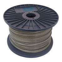 TOPTRADE lano ocelové, pozinkované, v PVC bužírce, na cívce, 7 x 7 drátů, O 2/3 mm x 200 m