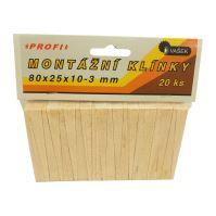 klínky dřevěné, montážní, balení 20 ks, 80 x 25 x 10 - 3 mm