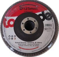 TOPTRADE kotouč brusný, lamelový, zrnitost 80, 125 x 22,2 x 2 mm