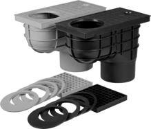 vpusť kanalizační, plastová, průtok 530l / min., se spodním vývodem O 125 mm