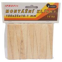klínky dřevěné, montážní, balení 14 ks, 100 x 25 x 16 – 1 mm