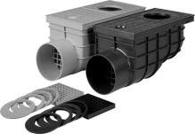 vpusť kanalizační, plastová, průtok 375l / min., s  bočním vývodem  O 110 mm