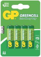 baterie GP Greencell, zinko – chloridová  R6, tužka AA, blistr 4 ks 1,5 V