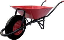 TOPTRADE kolečko stavební, červenočerné, tažená korba, kolo nafukovací, 60l